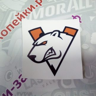 наклейка виртус про белый медведь оранжевая буква