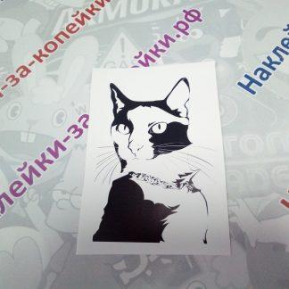 наклейка кот черная на белом фоне животные