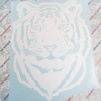 наклейка тигр на капот белая животные